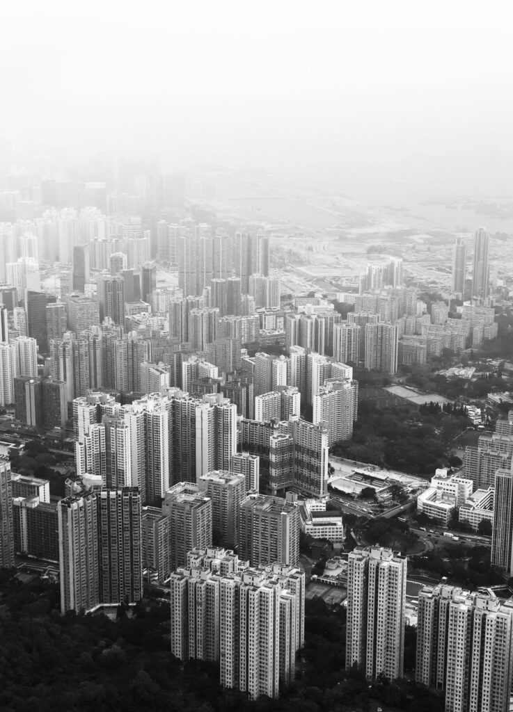 A city in black and white